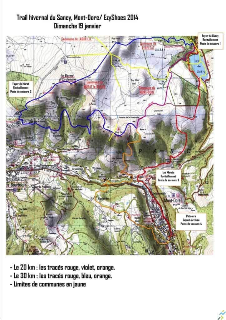 parcours trail hivernal Sancy