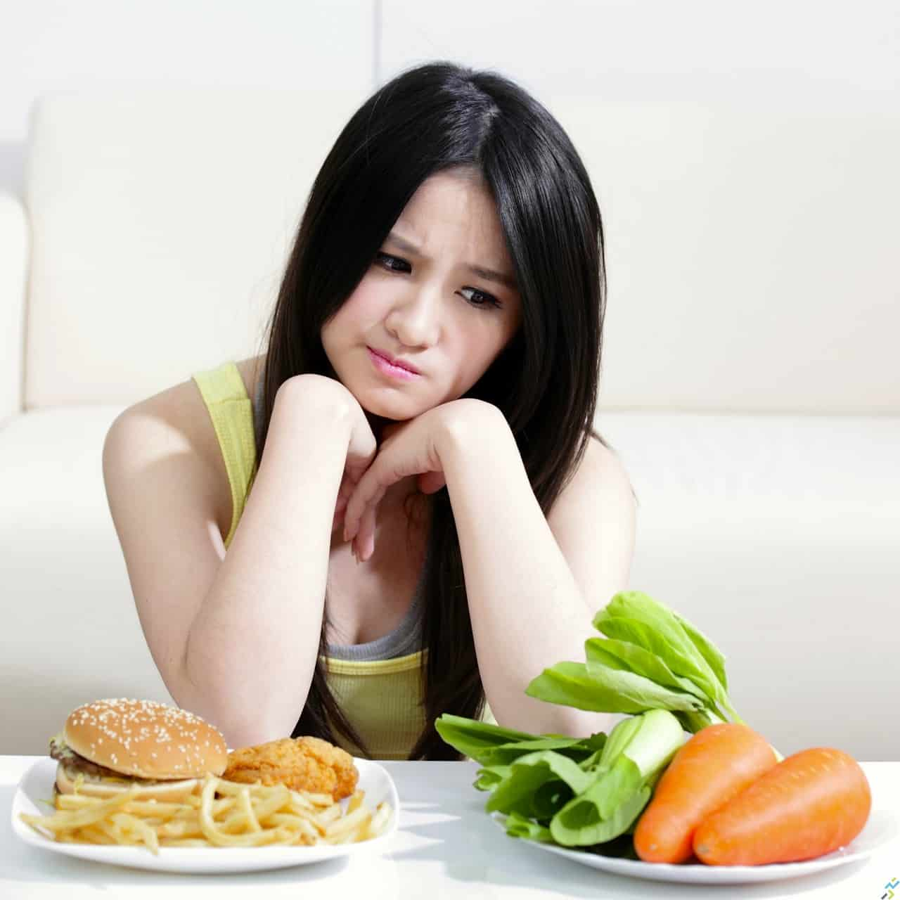 Woman think about food