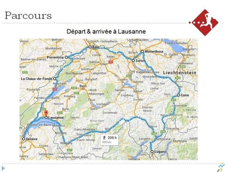 Parcours tour de Suisse en courant